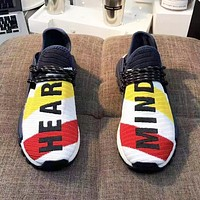 Adidas Pharrell HU NMD Fashion New Letter Print Contrast Color Sports Leisure Women Men Shoes