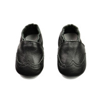 Leather Baby Permeable Anti-skid Infant Black Shoes [4919351940]