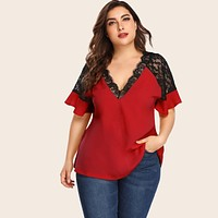 Plus Ruffle Sleeve Lace Contrast Blouse