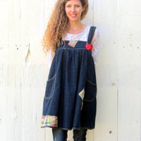 Funky Trapeze Dress , upcycled jumper , blue jean denim womens refashioned eco friendly clothing recycled size M-Lar bohemian by wearlovenow