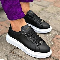 Onewel Alexander McQueen New Tyle Fashionable Women Men Casual Sports Running Shoes Sneakers Black+white soles