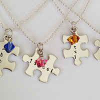 Personalized Puzzle Pieces and Crystal Necklaces With Names, Dates, or Special Word for Friends Sisters & Bridemaids