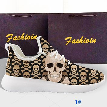 Creativity Flying Knitting Shoes Skull Men's and Women's Sports Running Shoes Lightweight Casual Shoes Khaki