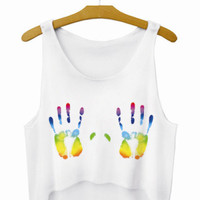 Painted Hands Crop Top Summer Style Tank Top Women's Top