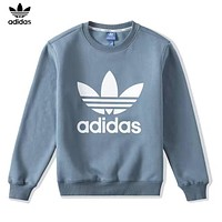 Adidas New fashion letter leaf print couple long sleeve top sweater