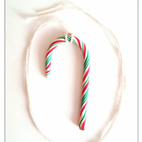 Candy Cane Charm Necklace, Polymer Clay Jewelry, Stocking Stuffer, Christmas Gifts, Festive Jewelry, Christmas Sale, Gifts For Sister