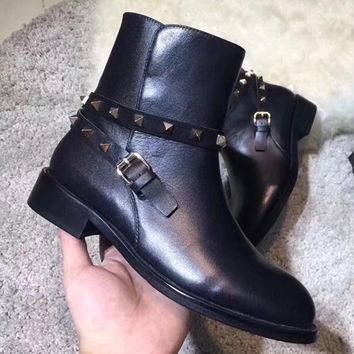 Valentino Women Fashion Rivets Leather Boots Shoes