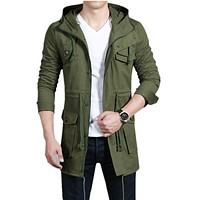 2017 New Style Men's leisure Trench Coat Fashion Removable Slim Long  jackets Men Casual Mens Hooded  Long Coat  Free shipping