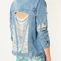 MOTO Super Rip Denim Jacket - Denim - Clothing - Topshop USA