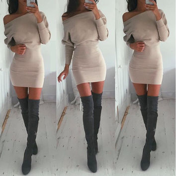 Khaki Off Shoulder Bodycon Dress