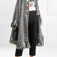 Dolce & Gabbana - Oversized fringed houndstooth wool-blend cape
