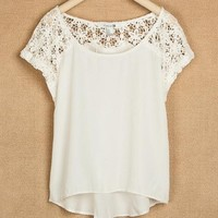 Hollow out round neck lace shirt
