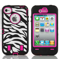 BLACK ZEBRA HIGH IMPACT COMBO HARD RUBBER CASE FOR IPHONE 4 4G 4S PINK Protect