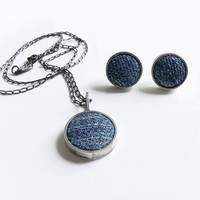 necklace and earring set, urban outfitters jewelry, denim jewelry, contemporary jewelry, peruvian jewelry, sterling silver necklace