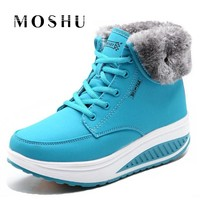 Fashion Women Snow Boots Female Lace Up Platform Sneakers Winter Ankle Boots Wedges Warm Plush Chaussure Femme