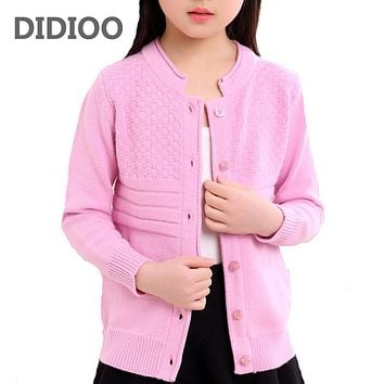 Cardigan For Girls Cotton Casual Children Clothing For Girls Solid Girls Sweaters Autumn Spring Kids Clothes