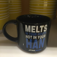 "M&M's World Star Wars ""Melts in your mouth not in your han"" mug New"