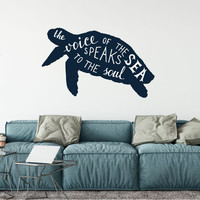 Ocean Sea Turtle Silhouette The Voice of the Sea Speaks to the Soul Vinyl Wall Words Decal Sticker Graphic
