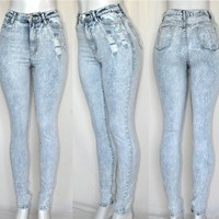 New High Waist Rice ACID Mineral Light Wash Destroyed DISTRESSED Skinny Jeans