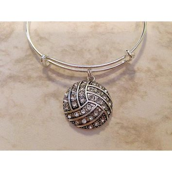 Volleyball Charm on a Silver Expandable Wire Bangle Bracelet Sports Team Coach Gift Adjustable