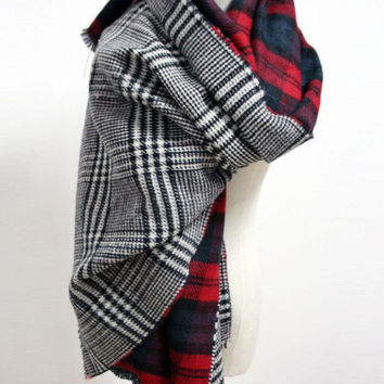 Double Sided Plaid Blanket Red Scarf