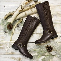 FREE STYLE  tall side lace up boots - brown