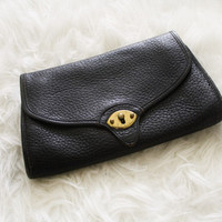 Vintage 80s Dooney Bourke All-Weather Leather Convertible Cavalry Pochette Clutch Bag from R+E