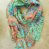 Charming Peacock Feather Scarf [2252] - $22.00 : Vintage Inspired Clothing & Affordable Fall Frocks, deloom   Modern. Vintage. Crafted.