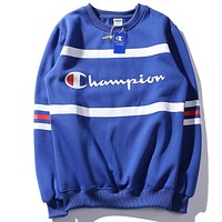 Champion 2018 autumn embroidered letters couple casual plus velvet sweater royal blue