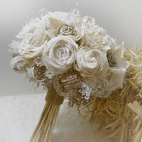 Rustic Shabby Chic Bouquet, Cotton Rolled Roses, Sola Flowers, Burlap, Lace, Rustic Shabby Chic Weddings. Made to Order.