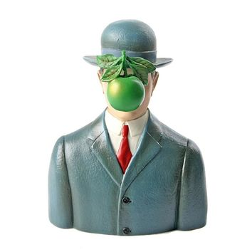 Bowler Hat Man with Green Apple Son of Man Statue Adaptation by Magritte, Assorted Sizes