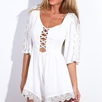 Your Sins Playsuit White