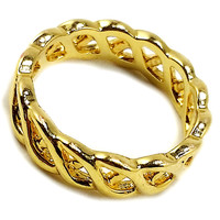 Woven Ring Vintage Openwork Band Gold Tone Size 5 Fashion r255