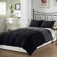 Black Grey Soft Goose Down Alternative Comforter Set , Twin , Queen , King Size
