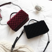 Stylish Velvet Winter Bags Chain Shoulder Bag [41806135311]