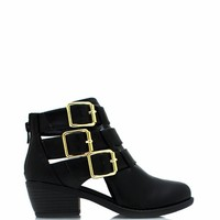 Tri-Buckle Ankle Boots