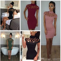 New ladies slim fit sexy short-sleeved black hollow out hip dress party casual evening bodycon dress plus size