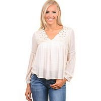 Dainty Ivory Embroidered Gauze Top