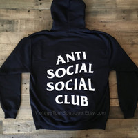 Anti Social Social Club Hoodie in Black / ASSC / Kanye West Anti Social Gildan Sweatshirt