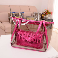 Hot Vintage Europe Fashion Women Clear Transparent Handbag Sweet Jelly Beach Bag Candy Colors Shoulder Bags Tote bag