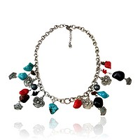 Colored Turquoise Crown Charm Necklace