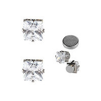 Stainless Steel Magnetic Studs Earrings With Clear Square CZ SOLD BY PAIR