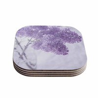 """Suzanne Harford """"Lilacs"""" Purple Floral Coasters (Set of 4)"""