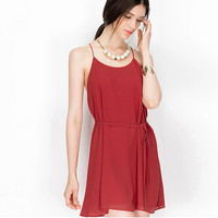 Backless Chiffon A-Line Short Dress