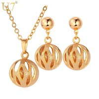 U7 Lovely Hollow Ball Round Pendant Necklace & Earrings Set Gold Color Trendy Party Jewelry Sets For Women Gift S578