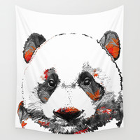 Panda Bear Art - Black White Red - By Sharon Cummings Wall Tapestry by Sharon Cummings