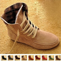 New Women Flat Ankle Snow Motorcycle Boots Female Suede Leather Lace-Up Martin Boot Plus Size 4.5-10 [7653955142]
