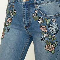 Embroidered Boyfriend Jeans