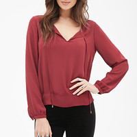 Self-Tie Neck Blouse