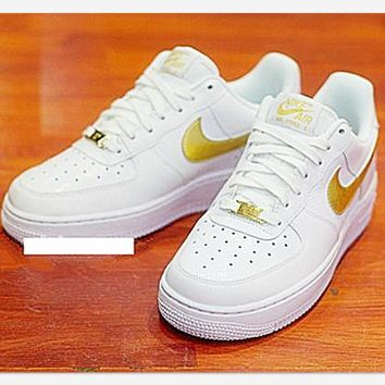 NIKE Women Men Running Sport Casual Shoes Sneakers Air force low help shoes White gold
